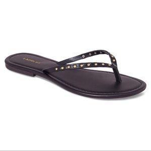 Express Black & Gold Studded Flipp Flop Sandals